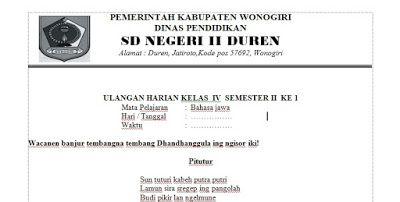Soal dan Kunci Jawaban Ulangan Harian Bahasa Jawa Semester 2 - Kelas 4
