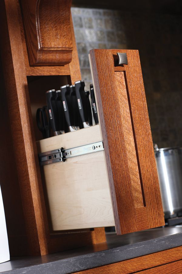 "Knife block in a drawer. This would drive my mom crazy. ""I washed the dishes for you but where the hell do you put knives??"""