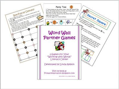 FREE 3 partner games to use in your word wall center.