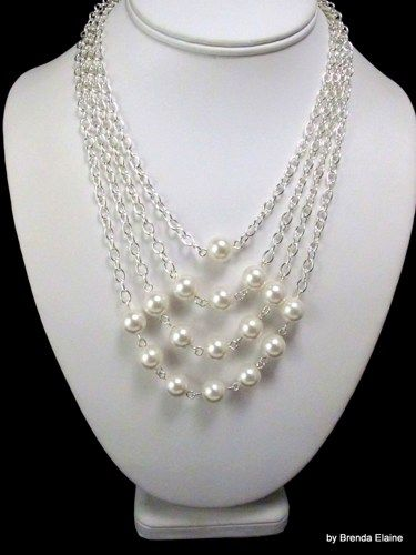 Necklace with Pyramid of Pearls in Silver   byBrendaElaine - Jewelry on ArtFire