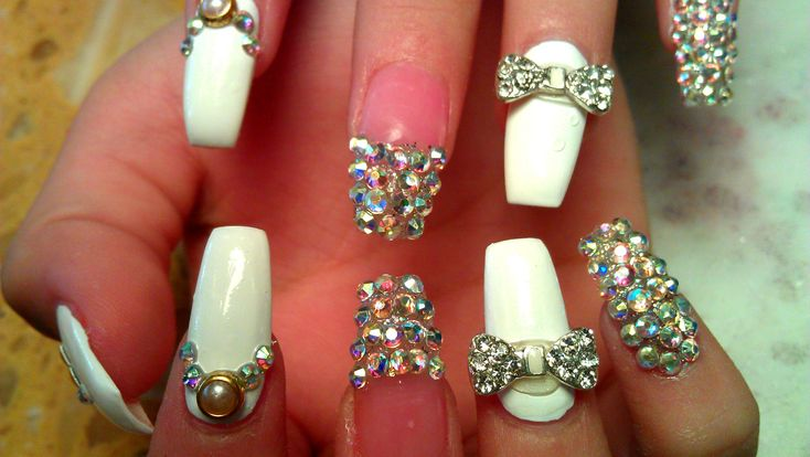 WEDDING ACRYLIC NAIL DESIGN COFFIN NAIL TUTORIAL STEP BY STEP