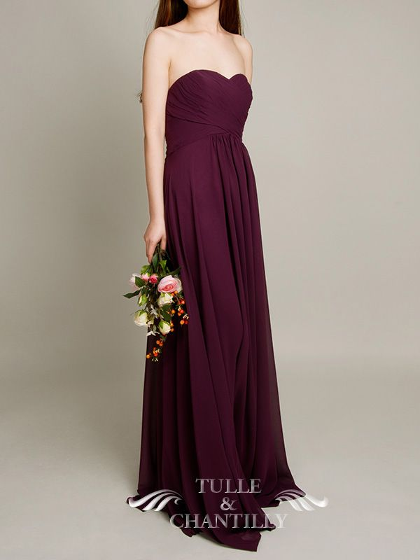 Floor Length A line Aubergine Dark Purple Bridesmaid Gown