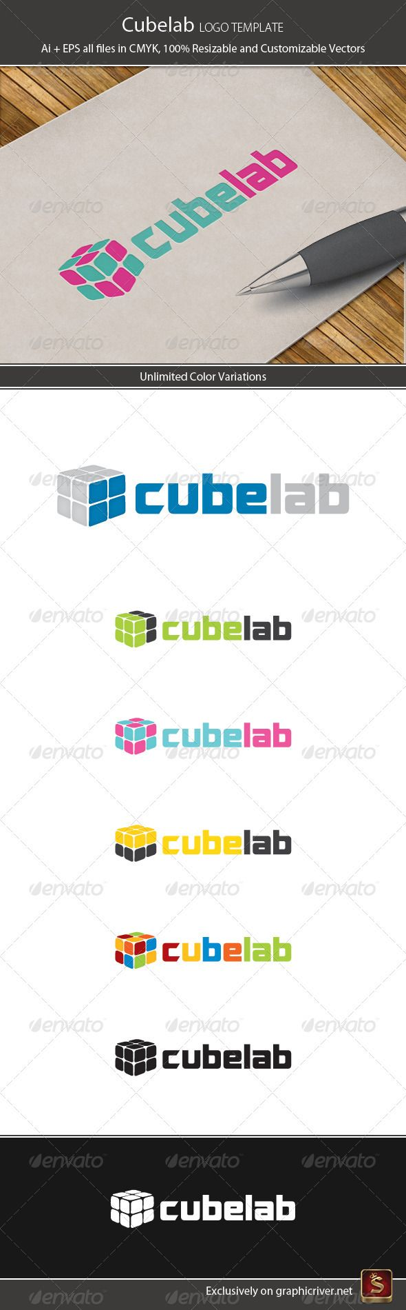 Cube Lab Logo Template  #GraphicRiver        Cube Lab – Logo Template Features 	 Elegant and modern Logo Template which is 100% customizable and resizable. Made in – Ai and EPS.  	 This logo template can be used for websites, stationery, clothes, etc.  	 Logo is made with vectors for easy resizing and customizing – all texts can be rewritten even You can change the font or color.  	 Changing all colors is as easy as one click to fill color in color palette.  	 Used free font: Optimus  Cube…