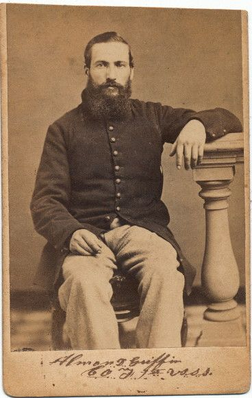 Rare carte view of Almon D. Griffin of the famed 1st U.S.S.S. His enlistment began on November 11, 1861 serving as a musician. 3 days later he would muster into Co.F of the 1st United States Sharpshooters. he would be wounded at Chancellorsville on May, 4th. He would survive and return to the unit only to be wounded once again at Cold Harbor on June 12, 1864. Almon would survive that wound as well but his time it was serious enough to earn a discharge for disability in October, 1864.