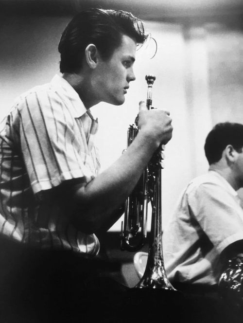 Chet Baker in a recording session, Los Angeles, 1953, photo by William Claxton