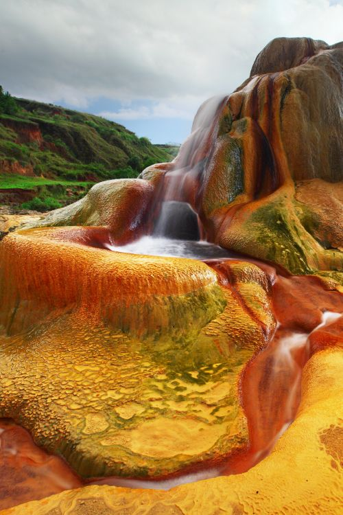 A product of the aragonite mines just north of Analavory in Madagascar, these colourful geysers are created by excess water removed from the mines #Madagascar
