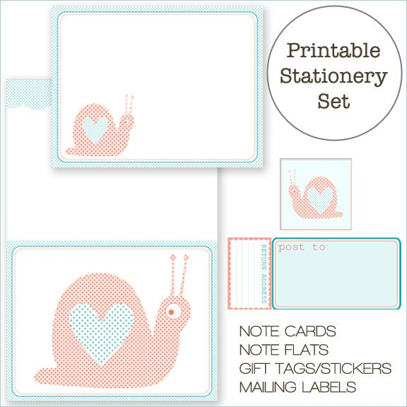 Free printable snail stationery set home creature comforts daily inspiration style