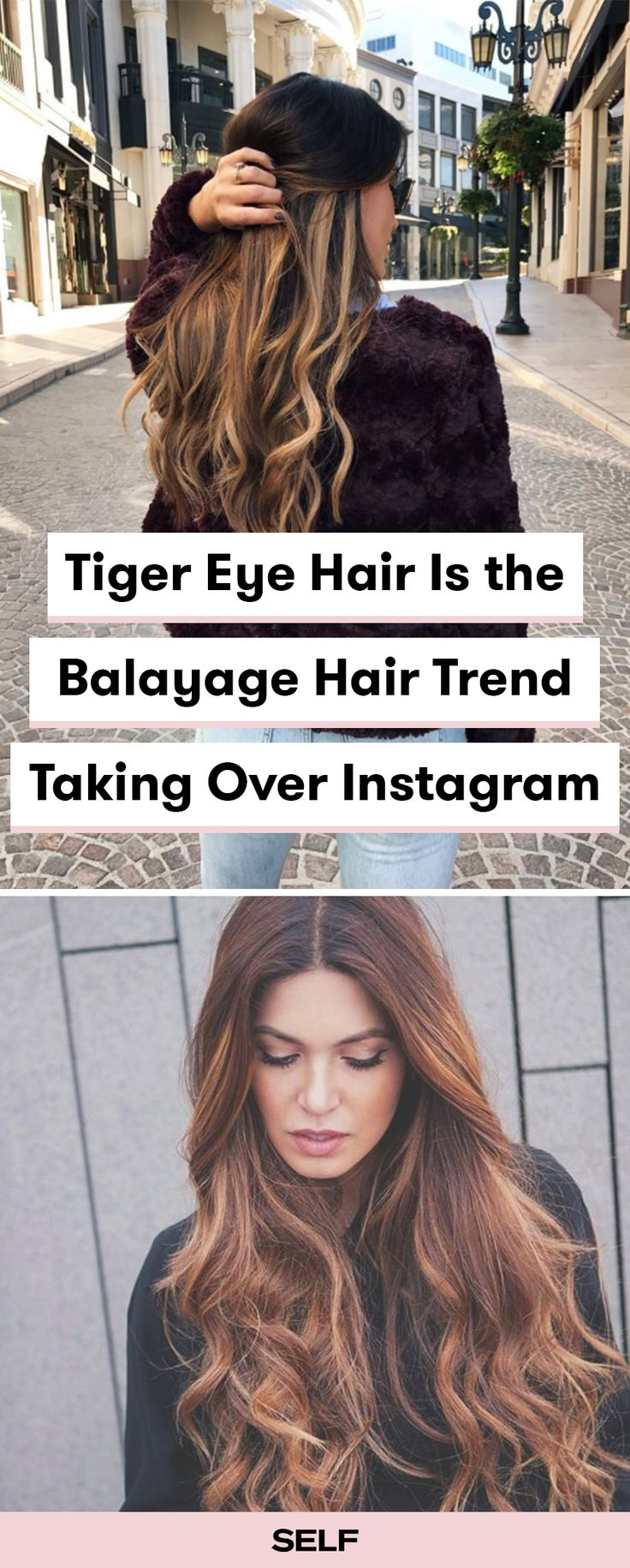 Looking for the perfect brunette balayage? The tiger's eye look that's trending on Instagram. This color is a perfect mix of auburns and caramels to create a fiery hair color that will be sure to turn heads.