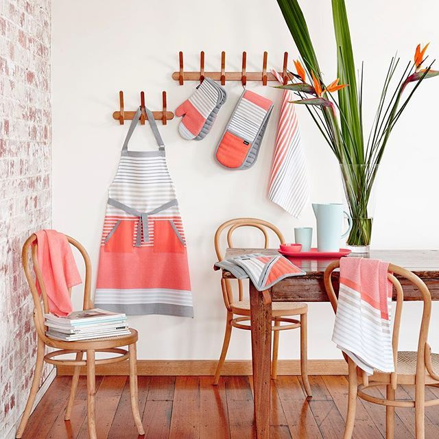 Styling by Alice Brew. Melbourne, Australia.  Lyndell has landed! Our newest range of kitchen accessories and kitchen towels are here. A clean and simple look with a bold pop of coral! 🍁 #ladelle #ladellelyndell #kitchenaccessories #kitchendecor #homedecor #teatowel #apron #coral #design #modern #productyoulove