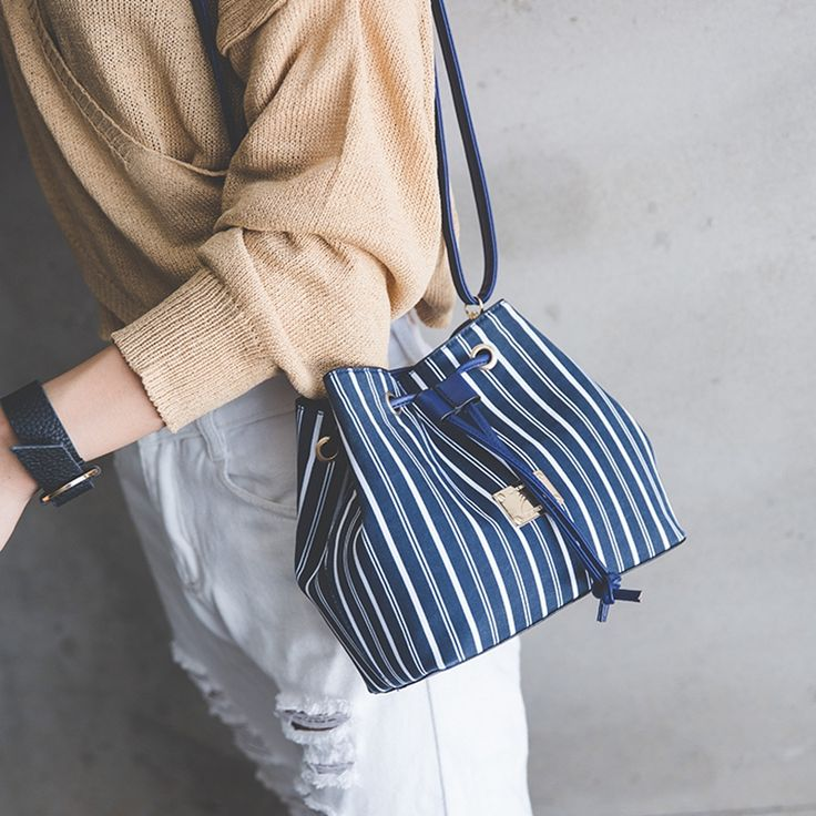 exclusivity  Korean style autumn new collection bucket shoulder bag navy striped high quality cross shoulder bag