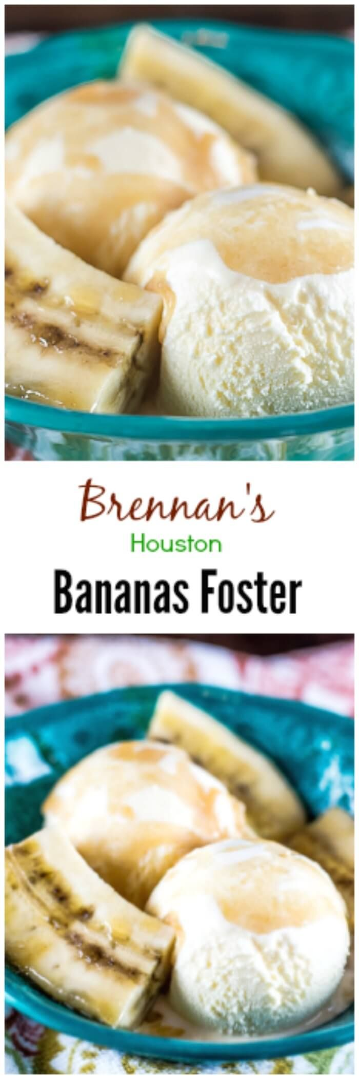 This Brennan's Houston Bananas Foster recipe, with fresh bananas and ice cream, covered in a buttery, brown sugar, rum-laced sauce, is from the famous Creole fine dining restaurant, Brennan's, in Houston, Texas. via @flavormosaic