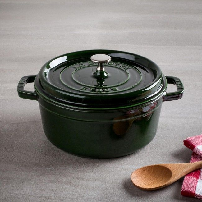 An indispensable component in every kitchen is the enamelled cast iron French Oven. Staub has perfected this traditional vessel in our signature piece La Cocotte. The self-basting spikes on the flat lid completes an ideal environment for sumptuous stews, roasts, soups, casseroles and other one-pot classic dishes. The interior black matte enamel finish is an excellent surface for braising, resists scratching and develops non-stick qualities the more it is used.