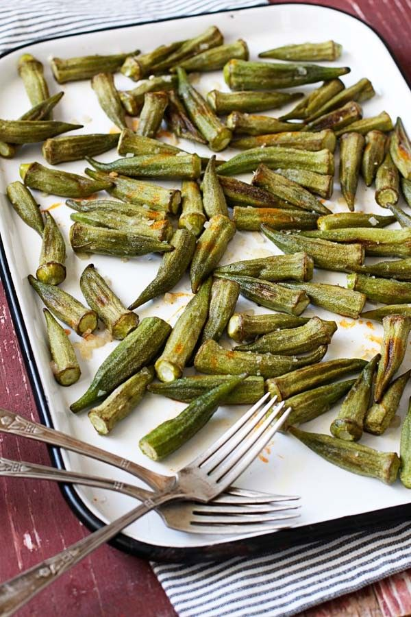 Easy side dish - Roasted Okra with Garlic Butter