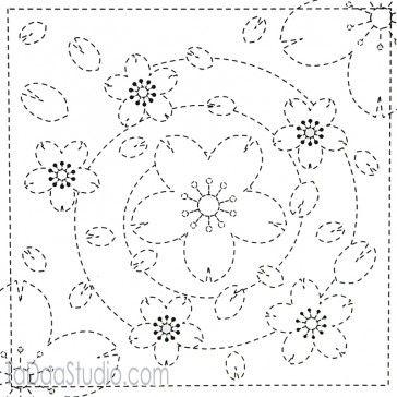 Spiral Flowers 36 - Sashiko White Sampler