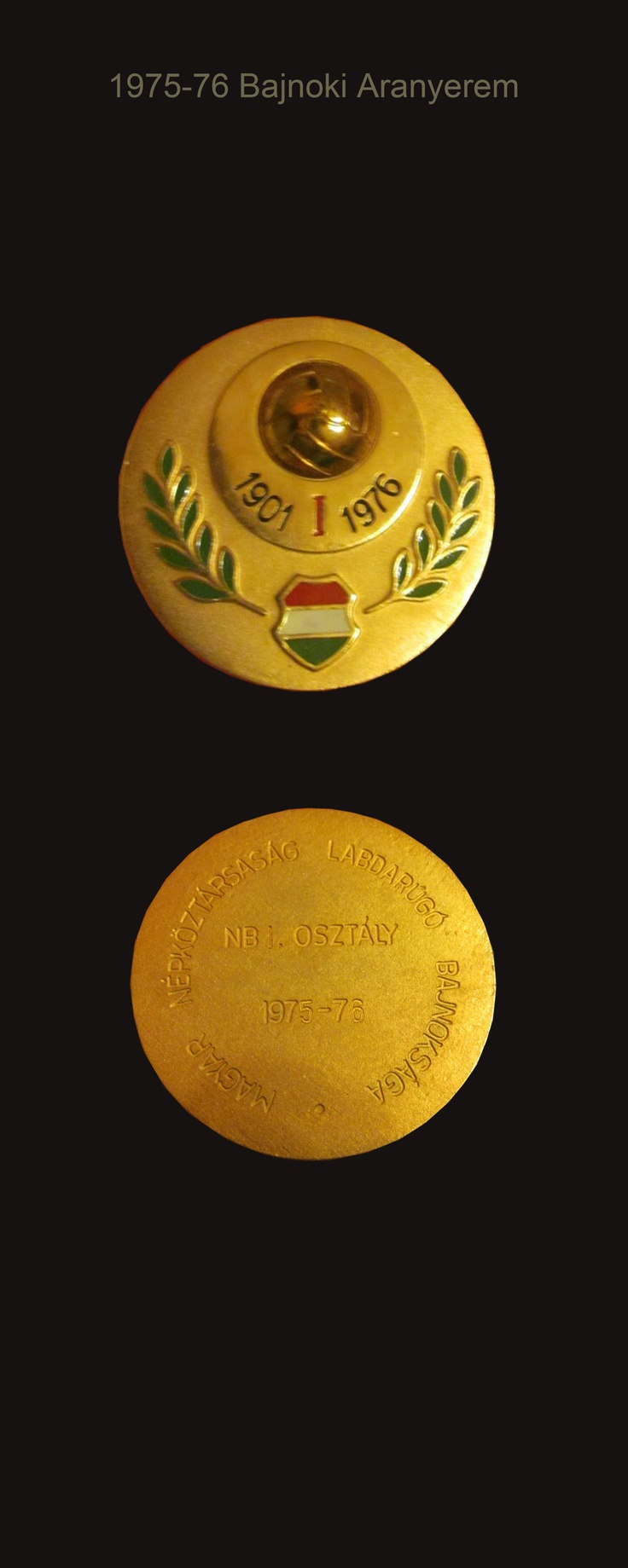 1975-76 Hungarian football Championship gold medal awarded to Ferencvaros