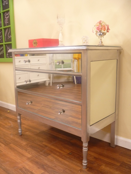 DIY Mirrored dresser... will definitely be trying this one! mirrored furniture is SO expensive!