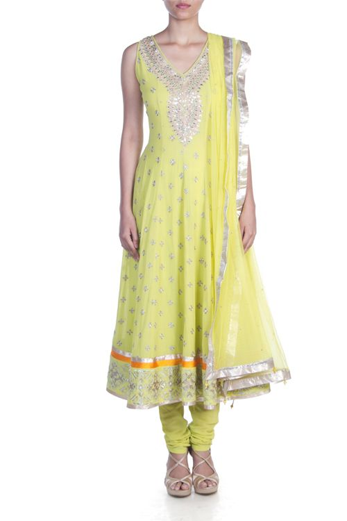 CASSIA LIME ANARKALI by http://shop.AnitaDongre.com/shopping/home.php?cat=48 This georgette anarkali set features a gold hand embroidered yoke along with traditional gota pati embriodery Rs 25,000 $432