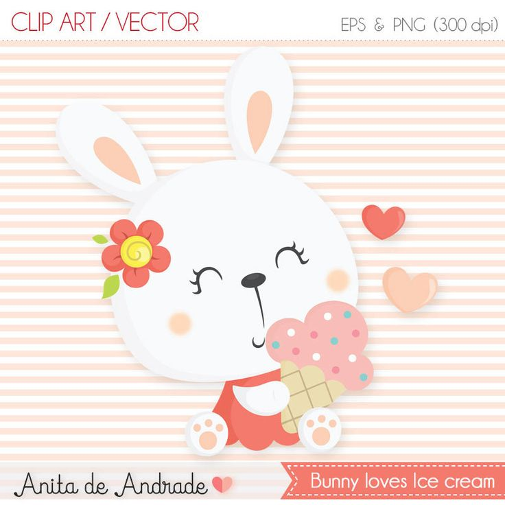 Bunny ice cream clipart - Commercial use - Summer, cute bunny, baby bunny vector - C012 by AnitadeAndradeStore on Etsy