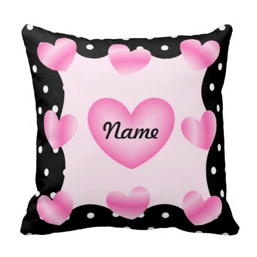 Pink Hearts Black White Dots Baby Girl Pillow - Just add your name and more to this pillow and play with the font style and colour to make this pillow truly, uniquely yours!