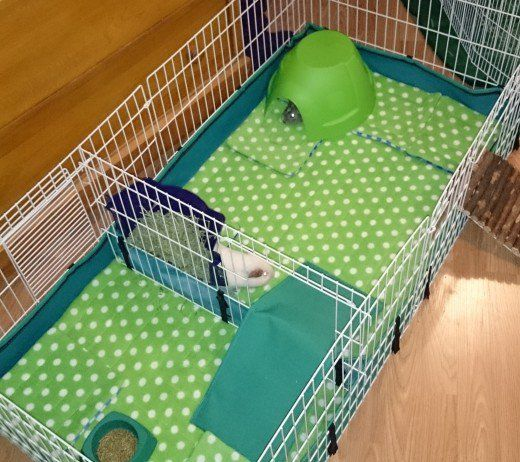 Fleece-lined guinea pig cage