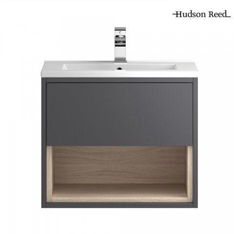600mm Hudson Reed Basin Wall Hung Vanity Unit Coast Grey Gloss - soak.com