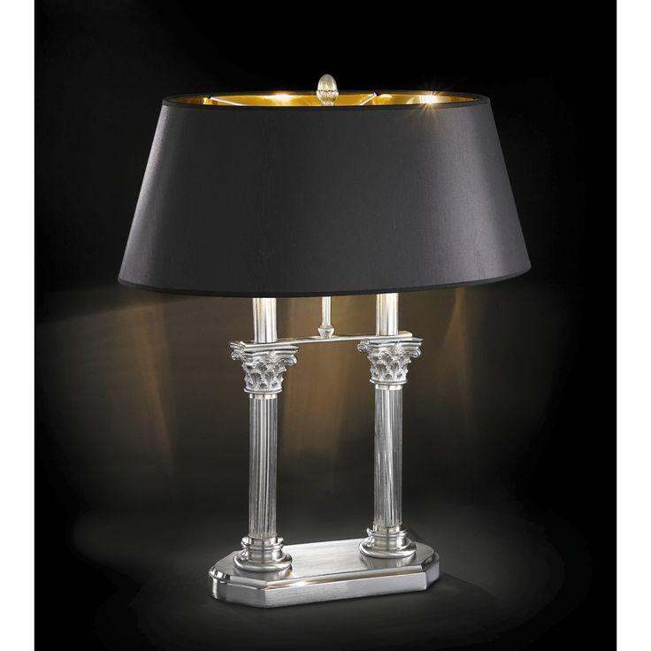 Tischleuchte aus Kristall, Lampenschirm aus Stoff. Gold 24K, Satiniert oder Chromgestellt.