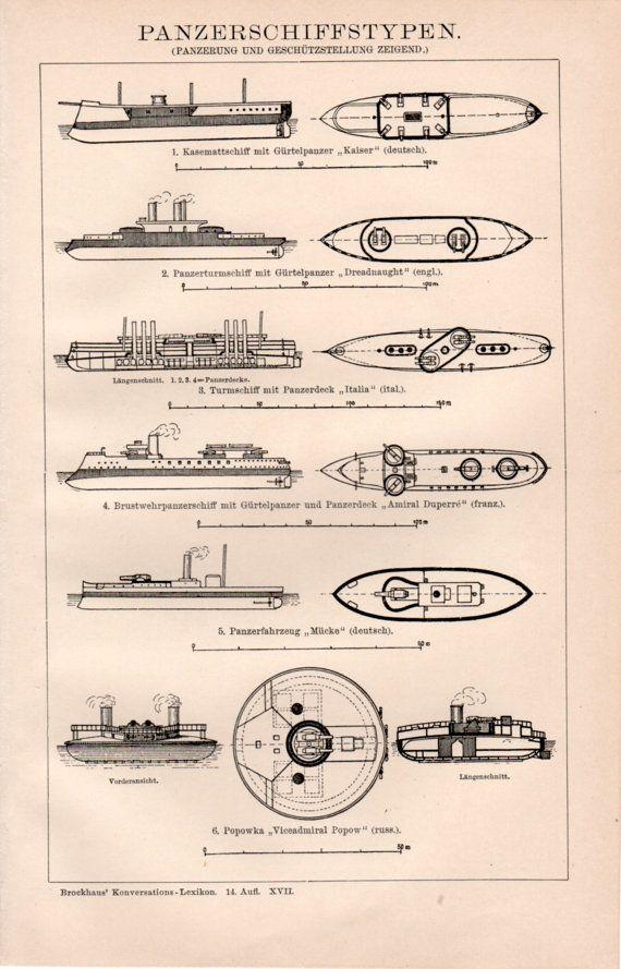 Buques de guerra acorazados 1898 antiguo grabado litografia Vintage Panzerschiff vapor barco acorazado Alemán Inglés Francés Ruso Marina de guerra italiana Naval