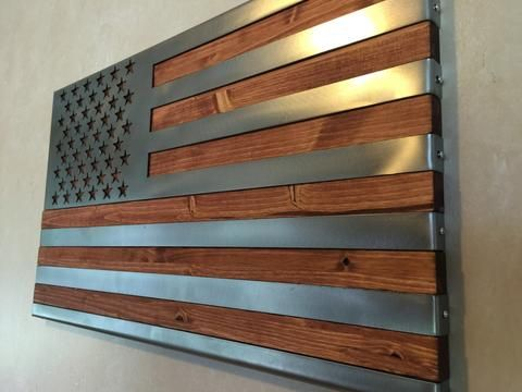 "3 dimensional, Hand oiled pine, wrapped in a folded ""Polished US Flag"" / Metal Art"