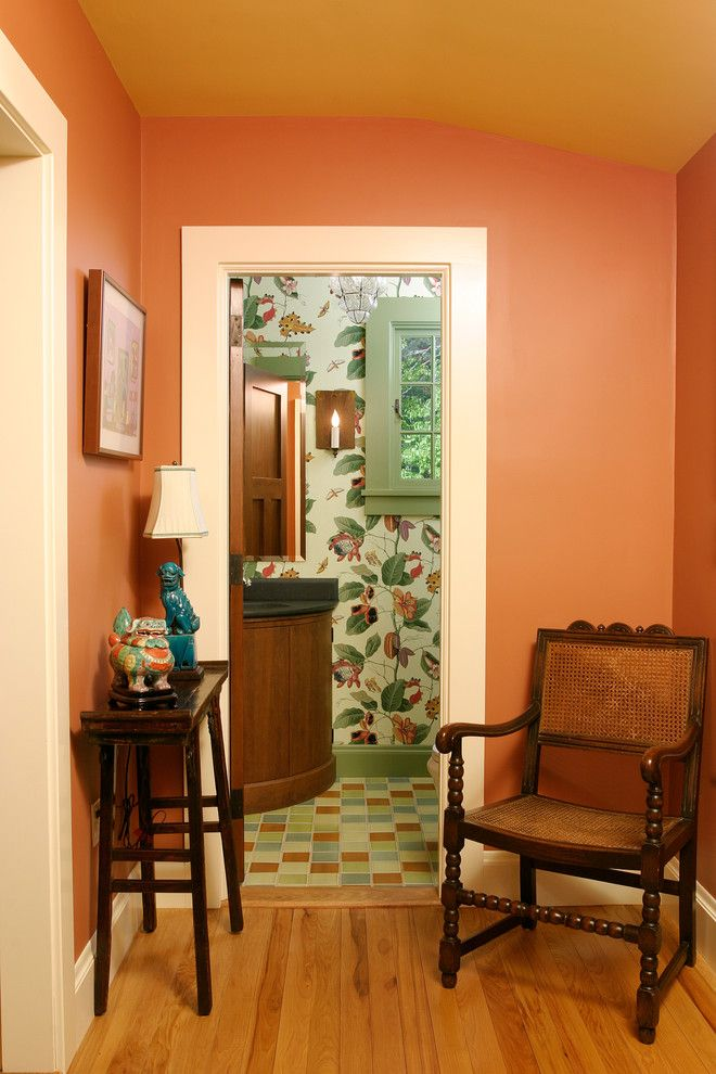 Find Any Breathtaking Coral Paint Colors Decorating Ideas For Powder Room  Traditional Design Ideas With Breathtaking Botanical Bowed Vanity And Prou2026