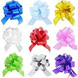 HONGJUYUAN Bright Colored Pull Bows with Ribbon String for Present Wrap Floral Decoration Wedding or Car (Pack of 9 in diferent colors)