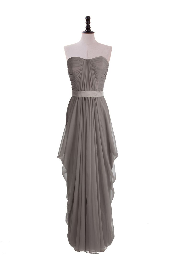 Strapless Shirred Dress with Draped Skirt- grey dresses