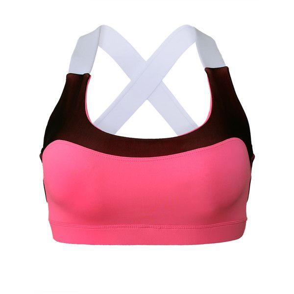 Soutien Gorge Sport Rose Lovable Croix Retour Active Yoga Bra ($10) ❤ liked on Polyvore featuring activewear, sports bras, pink sports bra, yoga activewear, petite activewear, yoga sports bra and sports bra