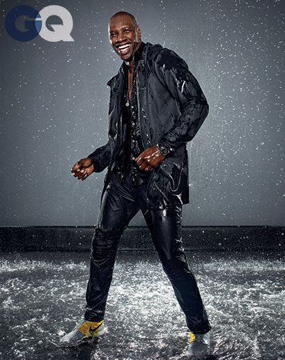 Just because it's raining does not mean you can't go out in style. Stutterheim Raincoats, worn by French comedian Omar Sy in GQ.