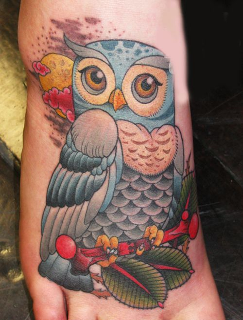 Owl tattoo. LOVE this styling!