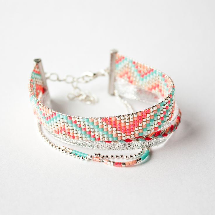 Bracelet tissé perles miyuki / manchette été / Argent, turquoise, bleu ciel, rose, corail