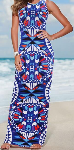 Romoti Holiday At The Beach Bohemian Print Long Dress.Only $21.99,Free Shipping!!