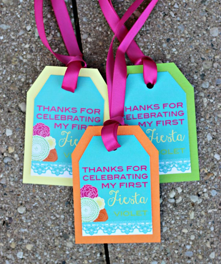 Girl Fiesta 1st / First Birthday Favor Tags.  Set of 18.  Hot pink/orange/yellow/green/teal party decoration.  Any Age. by CharmingTouchParties on Etsy