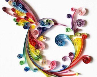 """Arte di carta quilled: """"Colorati Colibrì"""" - Oggettistica per la casa fatti a mano opera d'arte - arte della parete carta - - Wall Decor - decorazione domestica - Quilled arte"""