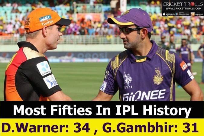 Batsmen with most fifties in IPL: David Warner & Gautam Gambhir For more cricket fun click: http://ift.tt/2gY9BIZ - http://ift.tt/1ZZ3e4d