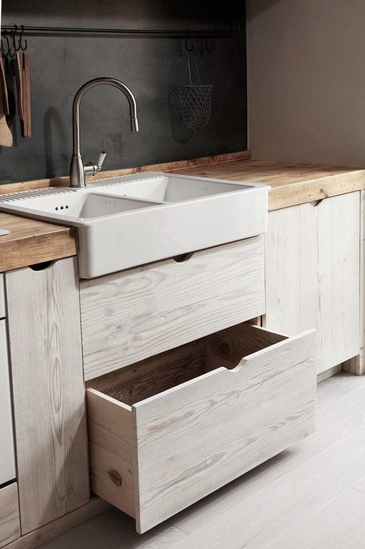 basket, farm sink (Katrin Arens kitchen - Remodelista)