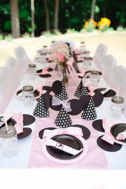 Decorated table at a pink Minnie Mouse girl Birthday Party!  See more party ideas at CatchMyParty.com!