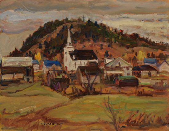 A.Y. Jackson - Notre Dame de la Salette Quebec 10.5 x 13.5 Oil on board (1966)