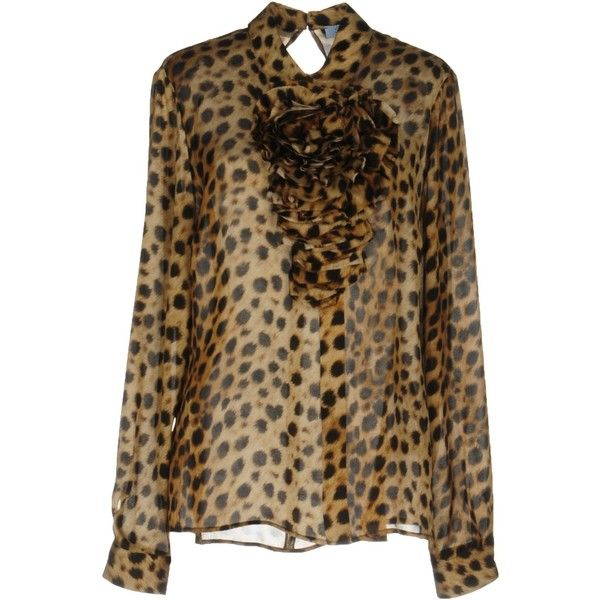 Blumarine Blouse (1,020 CAD) ❤ liked on Polyvore featuring tops, blouses, beige, ruched long sleeve top, ruched top, shirred top, leopard print tops and brown top