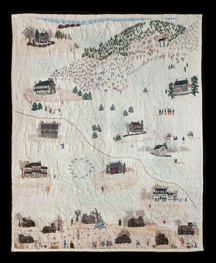 "Valley Forge Pennsylvania Historical Quilt 1777-1778 Won 2nd Prize Art Quilt Elements 2014 & PA National Quilt Extravaganza 2013 & featured at VFNational Historical Park Dec.2013. This is a completely handmade, handquilted, handpainted, handpieced quilt of a original scene of Valley Forge during the Revolutionary War in America 1777-1778 by artist Lois Charles from one of her orignal paintings. Material: Muslim, embroidery, fabric, thread, acrylic paint Size: 66"" w x 82"" L"