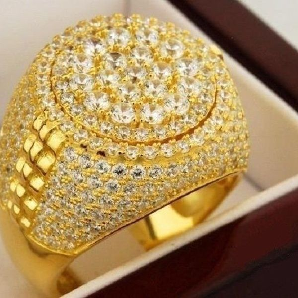 3 17 Ct 18k Yellow Gold Filled Mens Round Diamond Wedding Engagement Pinky Ring Band Wish Pinky Ring Rings For Men Mens Diamond Wedding