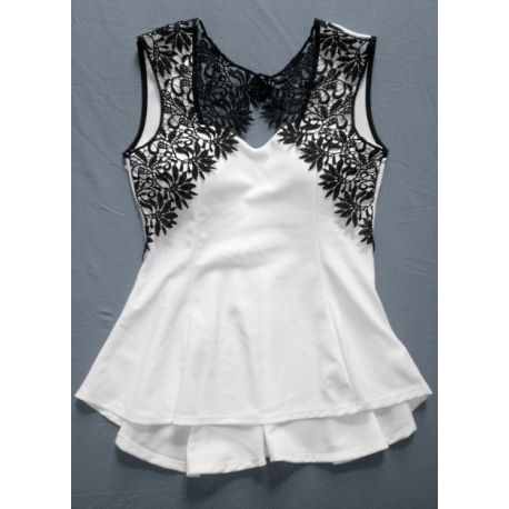 Embroidered peplo top