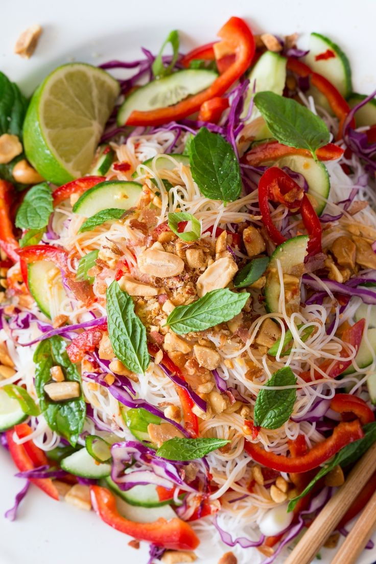 Asian vermicelli salad with peanuts - Lazy Cat Kitchen