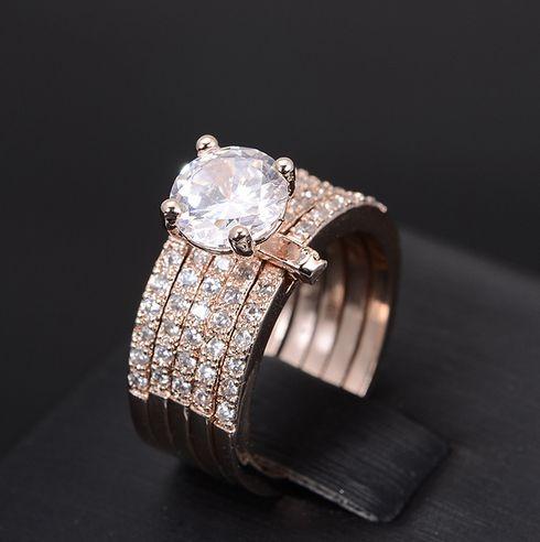Стиль звезд принцесса Cut CZ кольца с бриллиантами установленных женщин мода гало свадьба обручальное кольцо в розовая позолота
