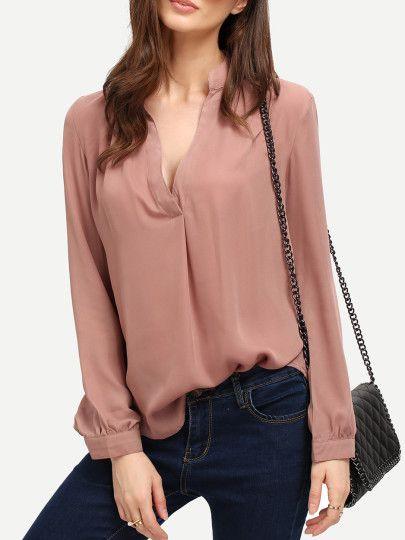 Pink Long Sleeve Loose Blouse
