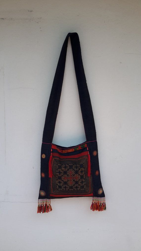 Ethnic Hmong Vintage Textiles Hemp Shoulder Bag by CoverRelax